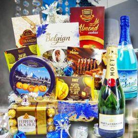 Golden Blue Deluxe Christmas Gift Hamper